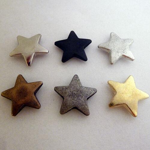 gold schwarz antik 10 Stern Ziernieten massiv Sterne Stars 19mm silber