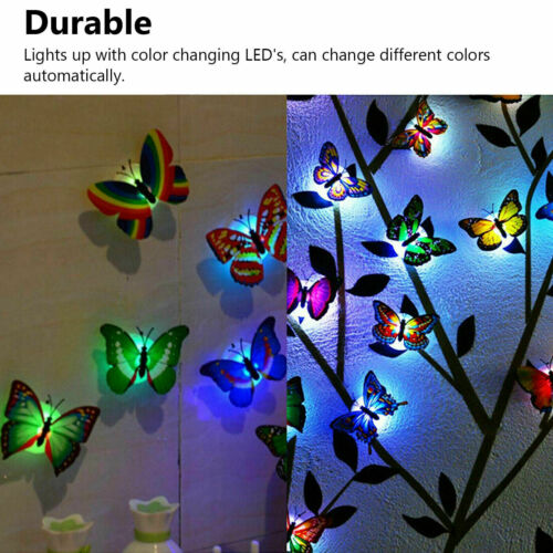 20Pcs 3D Butterfly LED Wall Stickers Glowing Bedroom DIY Home Decor Night light