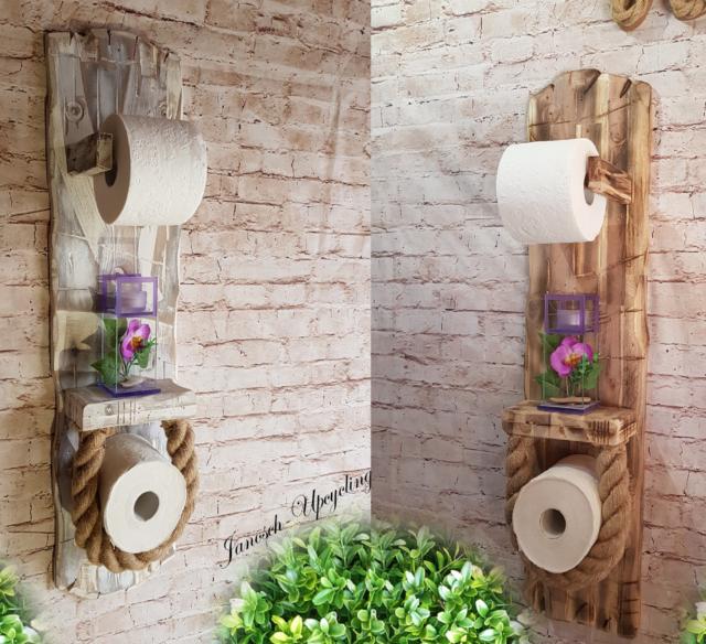 Toilettenpapierhalter Klopapierhalter Akazie Holz Shabby Rollenhalter Premium
