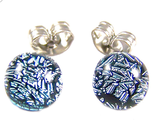 Tiny-DICHROIC-Post-EARRINGS-1-4-034-7mm-Silver-Platinum-Fused-GLASS-DOTS-STUDS