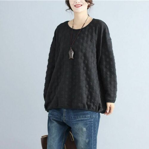 Women Black Pullover Sweatshirt Autumn Long Sleeve Polka Dot Loose Hoodies