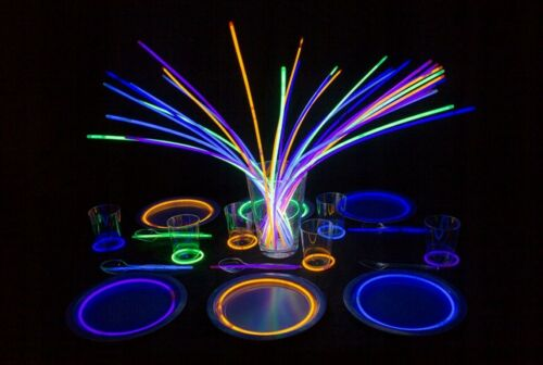 100 Knicklichter 200 x 5 mm Leuchtstäbe Farb-Mix Glow Sticks Fluoreszierende