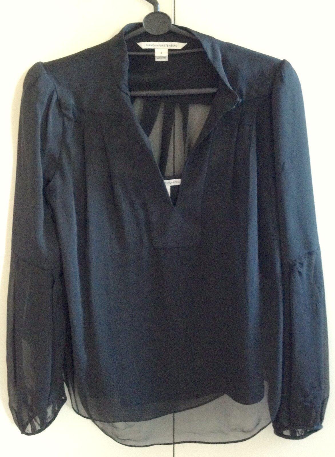 Exquisite Diane von Furstenberg Retro schwarz Ladies Silk Top with Silk Cami Small