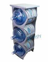 Silver Water Bottle Holder Stand 3 & 5 Gallon Rack 3 Tier Stack Table Counter