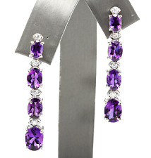 7.40ct Natural Amethyst and Diamond 14K Solid White Gold Earrings