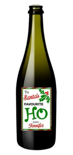 Personalised To Santa/'s Favourite Ho Funny Wine Bottle Festive Gift Label CW4