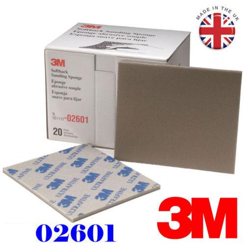 3M 2601 UltraFine Softback Sanding Sponge Sandpaper Paper Box Range 800#-1000#