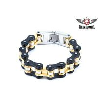 Heavy Duty Black & Gold Stainless Steel Motorcycle Chain Bracelet