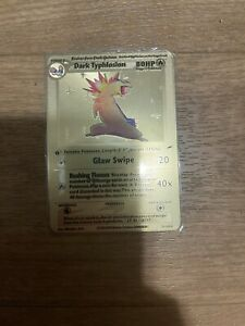 Pokemon Dark Typhlosion Gold Custom Metal Card