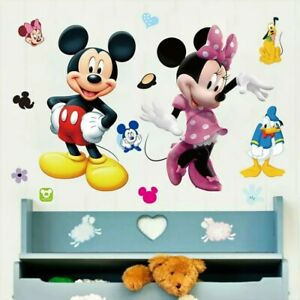 Mickey-Minnie-DIY-Stickers-Nursery-Kids-Room-Removable-Mural-Decal-Decor-Uk