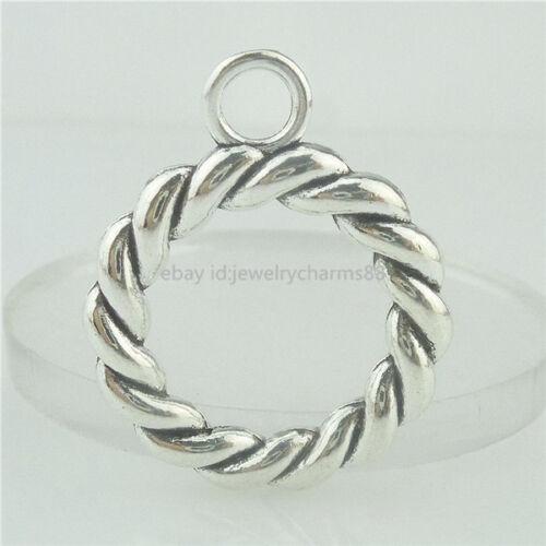 15513 10PCS Alloy Antique Silver VintageNice Round Ring Pendant Charm