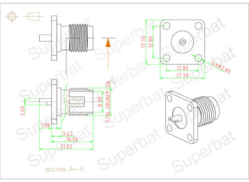 solder cup RF Connector 17.7*17.7 5x TNC Female Jack 4 hole Panel Mount flange