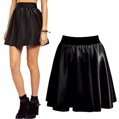 Womens Ladies Dogtooth Print PVC Faux Leather PU Bodycon Short Mini Tube Skirt