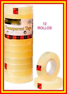 Conjunto Rollos De Fixo 12 Mm 36 M De Celo Tape PequeÑo Transparente Cinta Fiso 100% D'Origine
