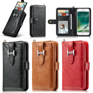 new concept 3f234 9edbc Details about For Apple iPhone 8 Plus -- Premium Genuine Leather SLIM Purse  Wallet Case Cover