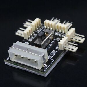 Type-D-4-pin-Male-to-6x-3pin-Male-CPU-Fan-Cable-Wire-Hub-Splitter-Card-3M-tape