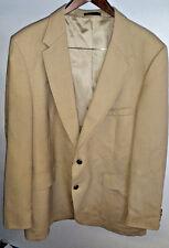 Vintage Beige Wool Polyester Two Button Blazer Jacket Size 46L