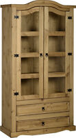 Seconique Corona Distressed Mexican Pine 2 Door 2 Drawer Glass Display Unit