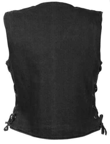 Denim Lace V Collar Black Snap Side 14oz Cotton W Ladies Vest Front 100 Neck 1xZnSwU