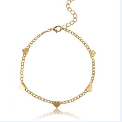 1pc Gold Chain Anklet Heart Bracelet Barefoot Sandal Beach Foot Jewelry  LU