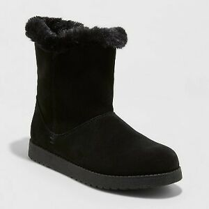 Women's Cat Mid Shearling Style Boots - Universal Thread Black 11