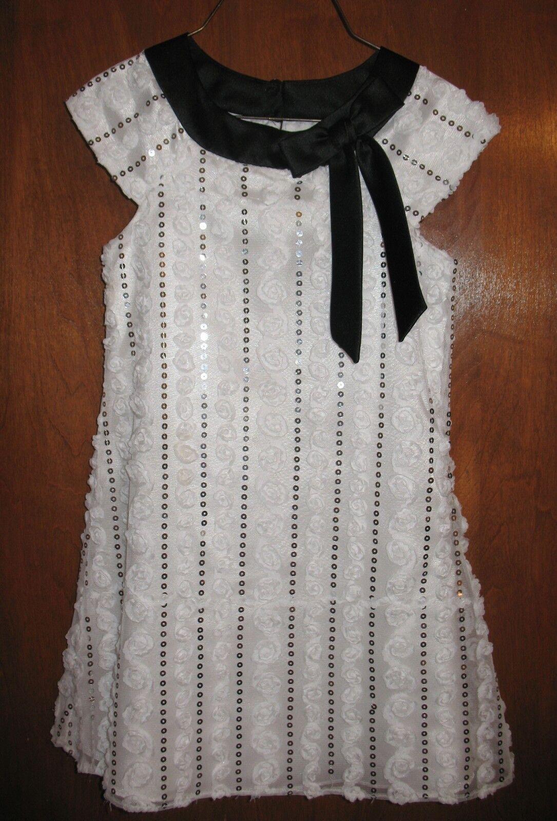 RARE EDITIONS Size 5 CAP-SLEEVE DRESS (white w/ black trim & sequins) perfect!