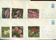 Romania 1972, 6 Flowers Unused Stationery Pre-Paid Envelopes Covers #C21442