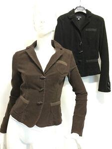 best service 7b194 2a60b Dettagli su Giacca Jacket Armani Jeans Donna velluto a coste nero marrone  E5N14QP