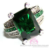 Beauty For Ashes Emerald Green City Princess Cocktail Wedding Crystal Glitz Ring