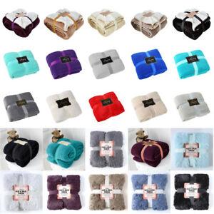 Luxury Faux Fur Wool Fleece Flannel Throw & Blanket Acrylic Single King Numerous In Variety Double
