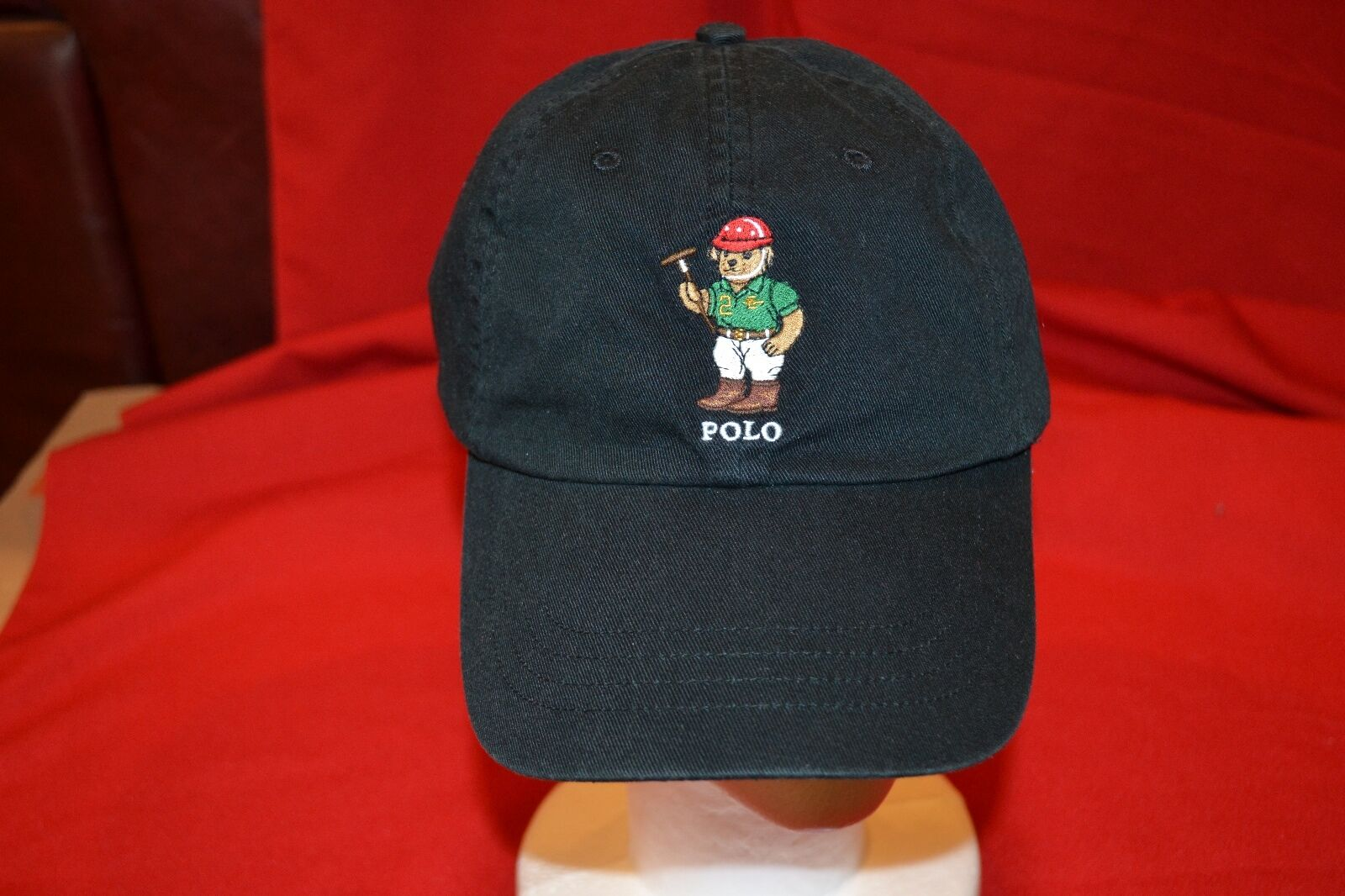 Polo Ralph Lauren Bears RARE Bear Hat Cap Golf Black 6512200 Rl14 ... d374accdb8e5