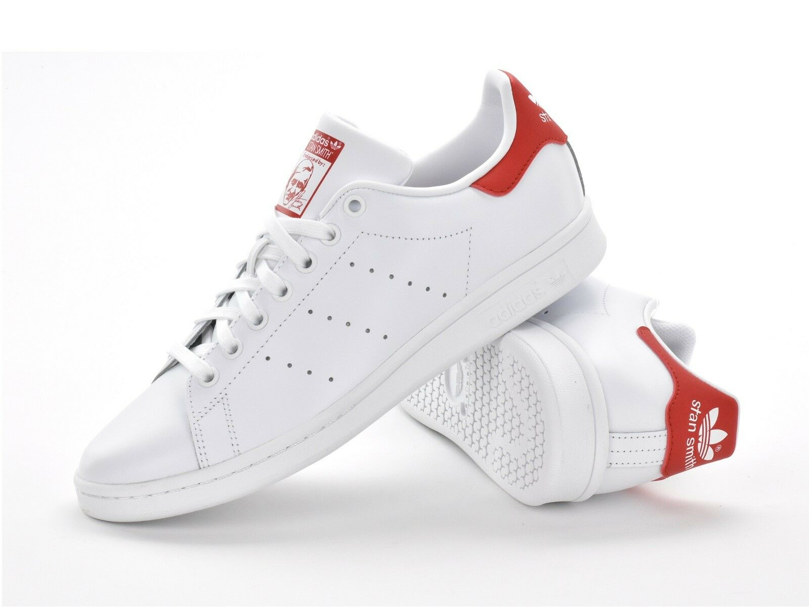 ADIDAS ORIGINALS STAN SMITH - MENS TRAINERS - WHITE RED - M20326 - BRAND NEW