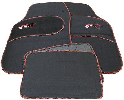 VW Golf MK3 MK4 MK5 Universal RED Trim Black Carpet Cloth Car Mats Set of 4