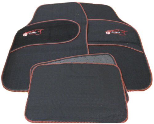 Ford KA Kuga Universal RED Trim Black Carpet Cloth Car Mats Set of 4