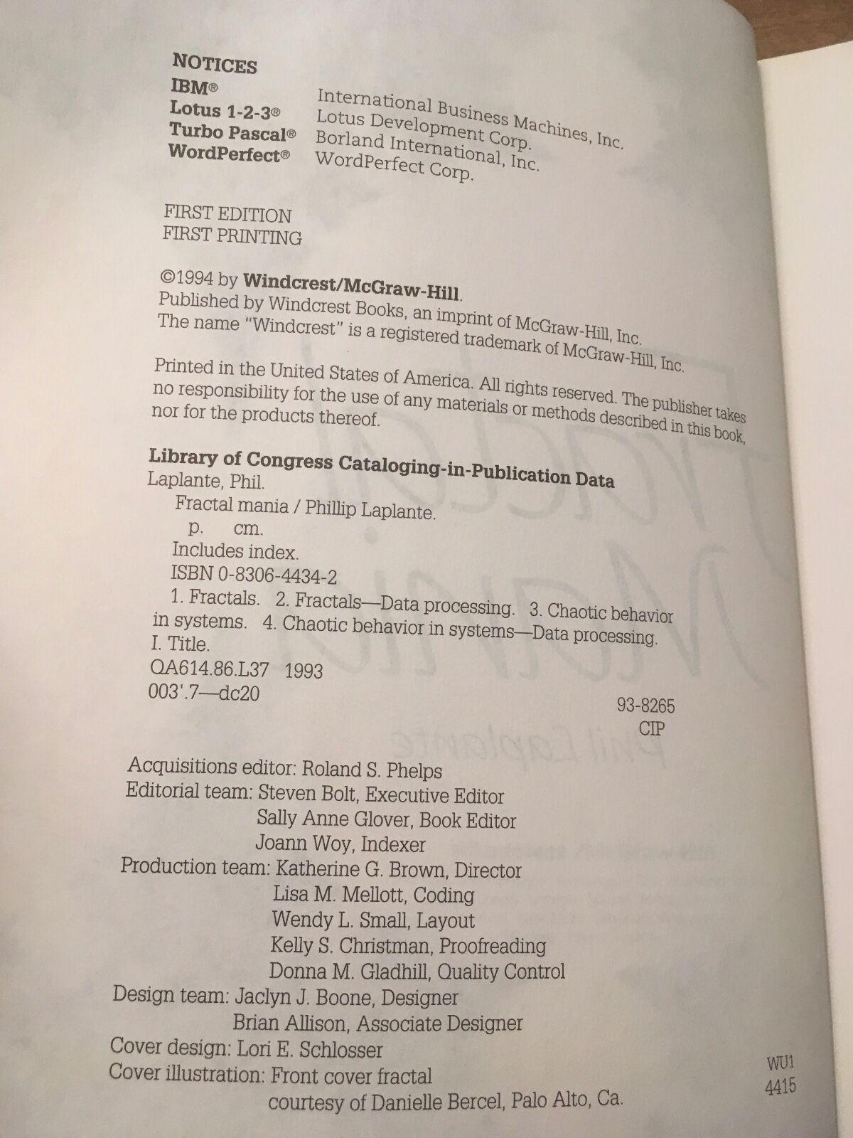 Fractal Mania by Phillip Laplante (1993, Paperback)
