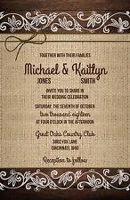 Wedding Invitations Wood, Burlap Lace & Twine Rustic 50 Invitations & RSVP Cards