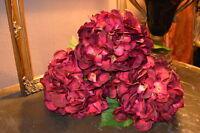 Bunch Of 3 Large Plum/purple Faux Silk Hydrangeas Individual Artificial Flowers