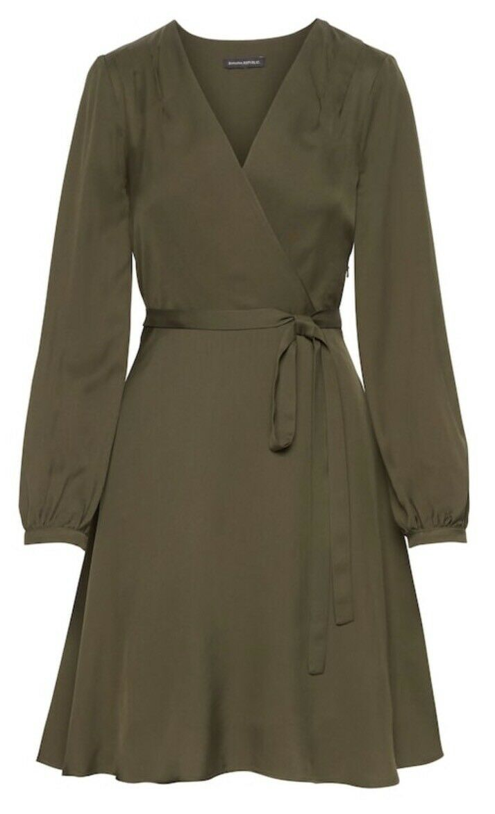 BANANA REPUBLIC SOLID WRAP DRESS MISTLTOE NWT  SZ 0