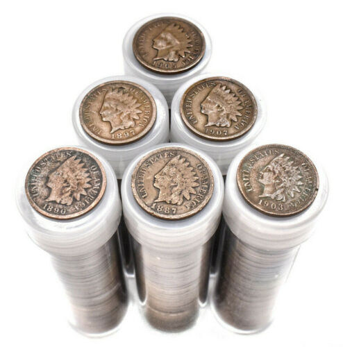 Vintage Indian Head Penny Coins Roll Lot Estate Sale Collectible Pennies Cents $
