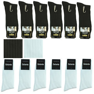 New Lords 3 6 9 12 Pairs Mens Fashion Ribbed Dress Socks Cotton Size 10-13 White