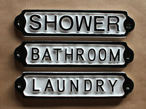 LAUNDRY BATHROOM SHOWER VINTAGE CAST METAL DOOR SIGNS ...