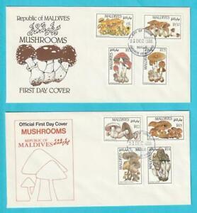 Malediven-aus-1986-FDC-MiNr-1234-1241-Block-130-131-Pilze