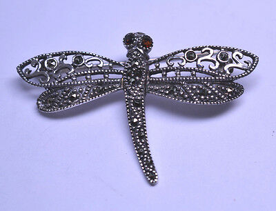 Sterling Silver Butterfly Pin//Pendant w//Marcasite Framed Abalone Shell Wings