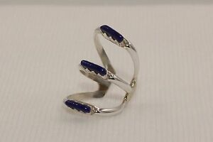 Handmade-Zuni-Sterling-Silver-3-Strand-Genuine-Gemstone-Ear-Cuffs