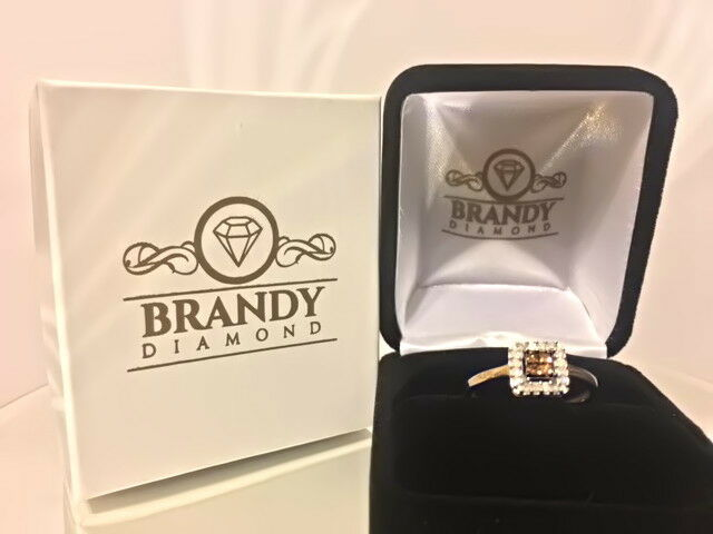 Brandy Diamond® Chocolate Brown 10K Yellow gold Princess Halo Design Ring .27Ct