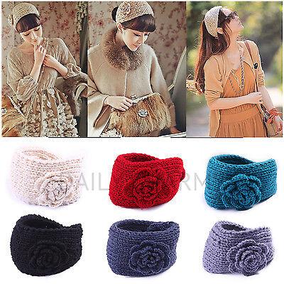 Womens Soft Crochet Winter Fashion Headband Warm Knit Flower Head Wrap Hairband