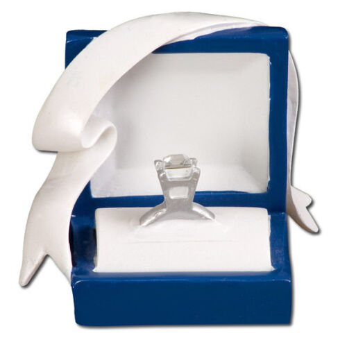 Marry Me Engagement Blue Box Diamond Ring  Personalized Christmas Tree Ornament