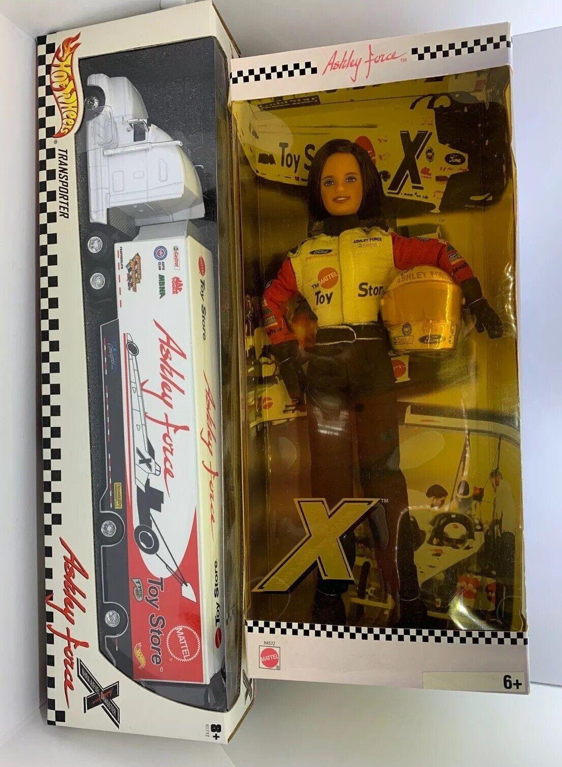 Mattel Ashley Force Doll NHRA Fuel Dragster H4572 & H1712 Transporter Hot Wheels