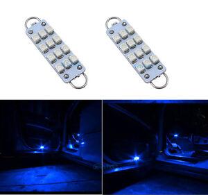 2Pcs-44mm-12-SMD-561-562-567-564-Festoon-Blue-LED-For-Door-Lamp-Lights-Bulbs