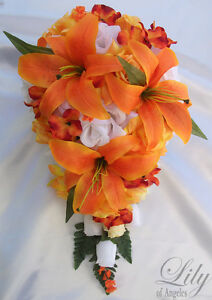 17pcs wedding cascade bridal bouquet silk flower teardrop orange image is loading 17pcs wedding cascade bridal bouquet silk flower teardrop mightylinksfo
